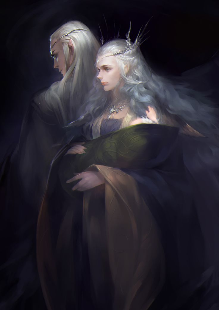 "Thranduil, his wife and baby Legolas by 花 - From ""The Hobbit"""