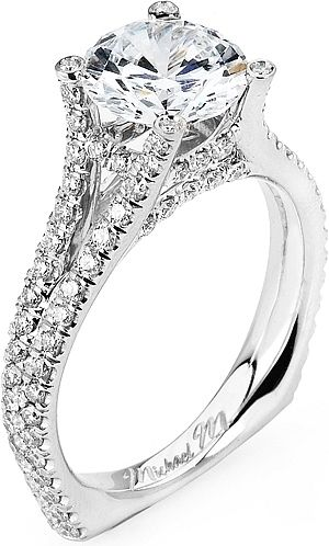 Split Shank Diamond Engagement Ring:by Michael M. features round brilliant cut diamonds pave set down a split european shank. Along the basket are also pave set round brilliant cut diamonds to perfectly show off your choice of center diamond.