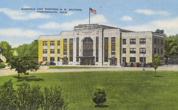 Built in 1931, the Norfolk & Western Railroad Station was located at 17th and Findlay Streets.  It was used for passenger trains until 1971 when they were discontinued but still housed the division offices. The building was demolished in 2004, and the Scioto County Jail is now located there in a structure made to look similar to the old station.