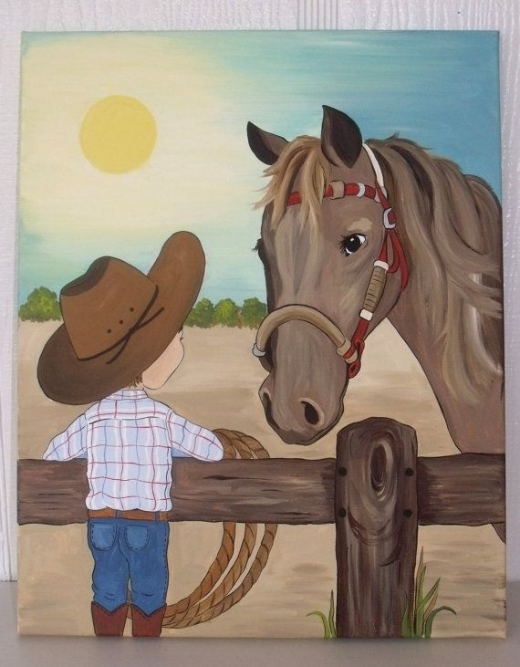 Little Cowboy And Horse Painting Kids Room By Leilasartcorner 80 00 Just For Hayden In 2018 Canvas Art