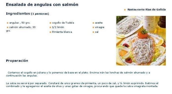 Ensalada de angulas con salmón.