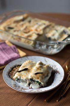 Mushroom and Swiss Chard Lasagna Rolls