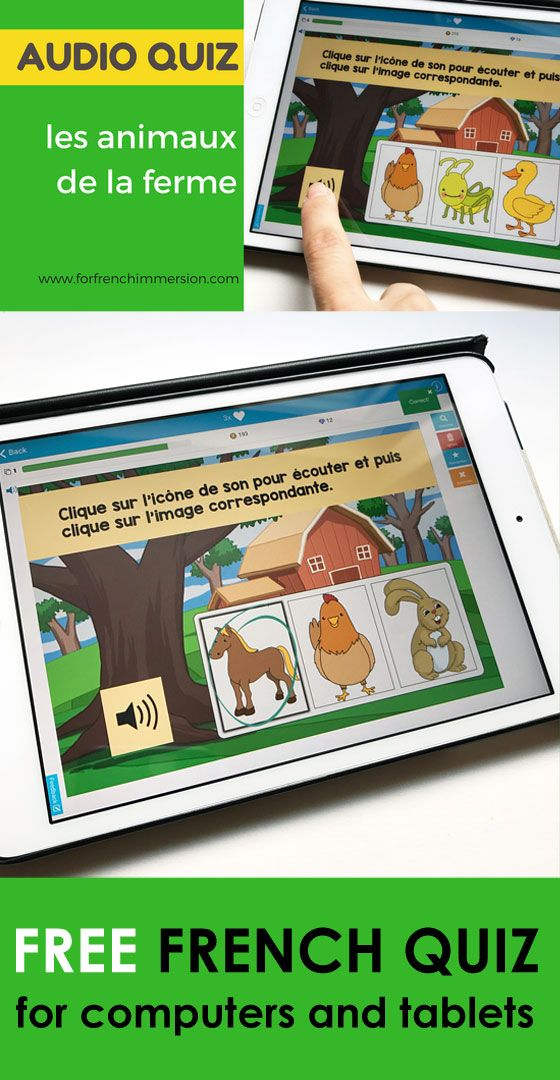 FREE French Farm Animals Vocabulary Audio Quiz (les animaux de la ferme) for computers, tablets, and IWBs | Boom Learning