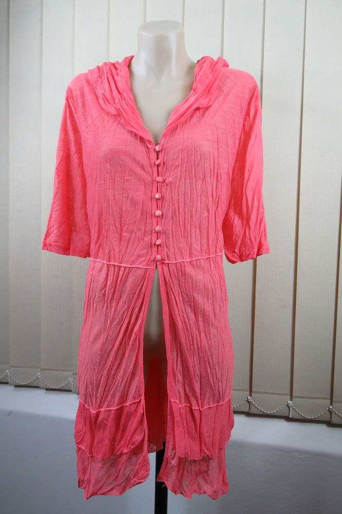 NWOT Size XL 16 Ladies Crinkle Drape Tunic Top Layer Resort Casual Stretch Style