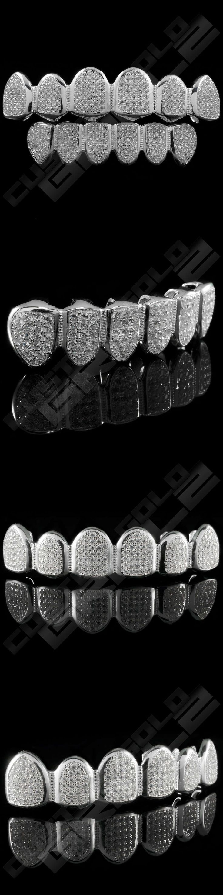 Grillz Dental Grills 152808: Bling .925 Sterling Silver Teeth Grillz Custom Grill Mouth Top Bottom Diamond Nw BUY IT NOW ONLY: $88.99