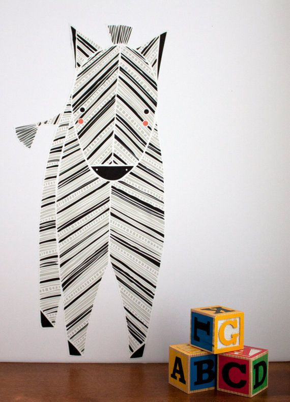 Zebra wall decal by gingiber at darling clementine for Modern kids fabric