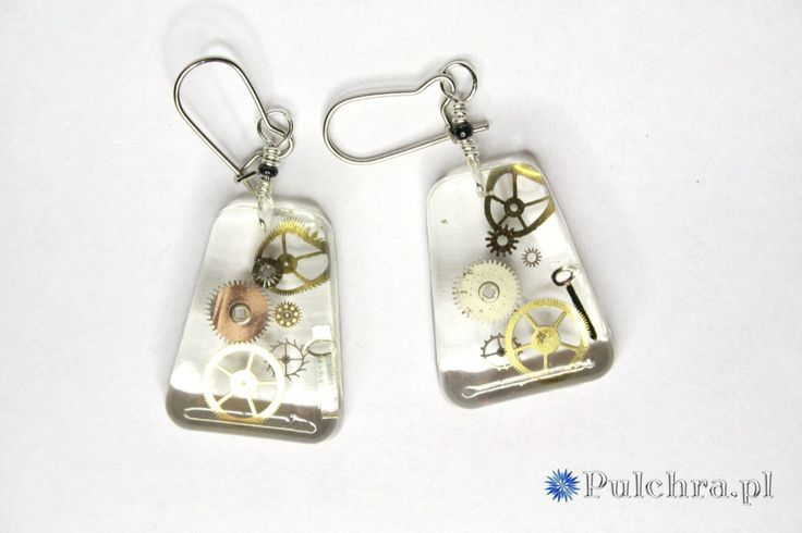 Resin earring made of watch cogs / Steampunk, kolczyki z żywicy; pulchra.pl