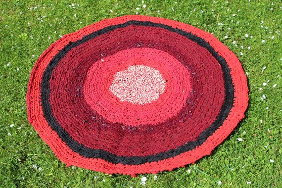 Large Crochet Round Area Rug 39'' Outdoor Rug Kids Rug Children Rug Nursery Rug Rag Rug Braided Rug Black Red Rug Cotton Rug Home Decor