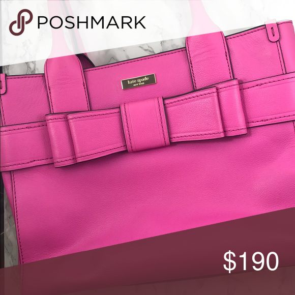 Kate Spade Quinn Villabella Avenue Pink Satchel Adorable Kate Spade pink bag with bow and polka dot lining. Light wear on bottom of bag. kate spade Bags Totes