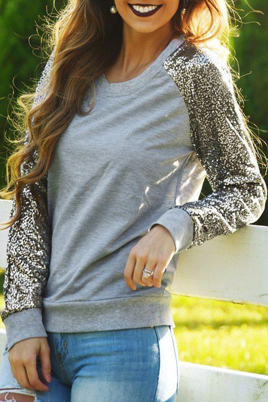 Sequins Spliced Long Sleeve Sweatshirt