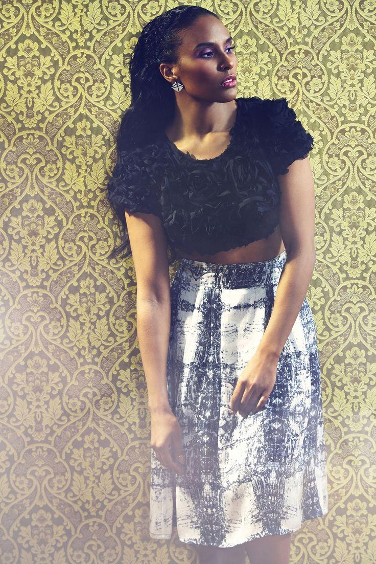 Adede Skirt. Unique top. Photographer Nana Simelius, Model Yacine Samb, Muah Kata Niemi Make Up and Hair