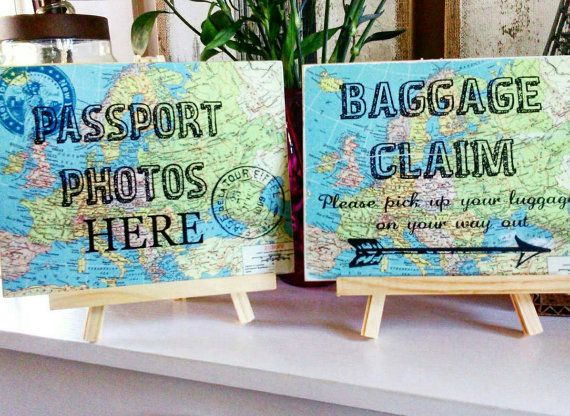 Travel theme wedding, wedding decor,  travel themed wedding shower, baggage claim sign, travel themed party