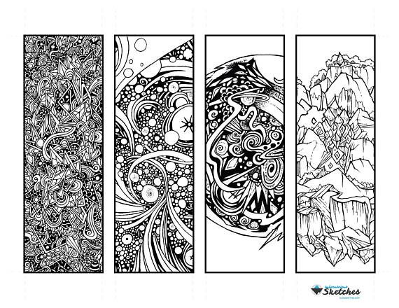 2 50 Relaxing Cosmic Abstract Coloring Bookmarks This