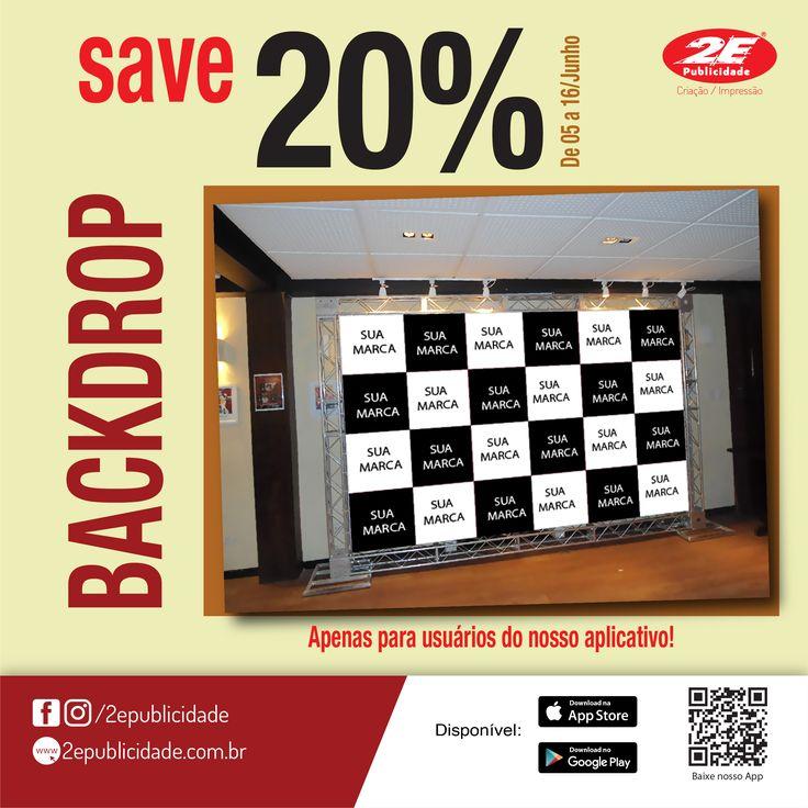 Promoção de backdrops, de 05 a 16/06. faça seu backdrop com um desconto super especial. promoção valida apenas para usuários do nosso aplicativo.<br /><br />iOS<br />http://ow.ly/5uIs30al7ma<br />Android<br />http://ow.ly/tV0l30al7eG