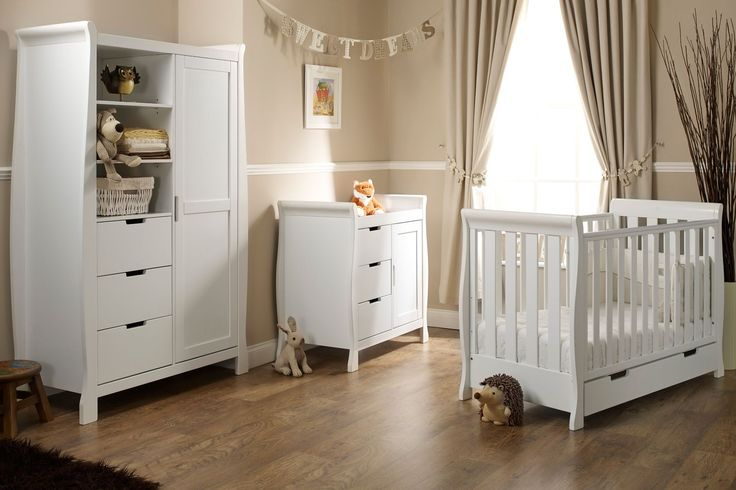 I'm shopping Obaby Lincoln Mini Sleigh 3 Piece Nursery Furniture Set - White in the Mothercare iPhone app.