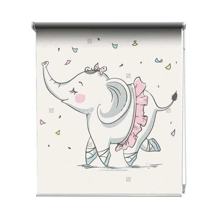 Rolgordijn Olifant ballerina | De rolgordijnen van YouPri zijn iets heel bijzonders! Maak keuze uit een verduisterend of een lichtdoorlatend rolgordijn. Inclusief ophangmechanisme voor wand of plafond! #rolgordijn #gordijn #lichtdoorlatend #verduisterend #goedkoop #voordelig #polyester #olifant #ballerina #tutu #babykamer #baby #meisje #meisjeskamer #meidenkamer