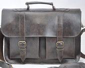 Dark Brown Leather Messenger Bag - 15 inch Laptop Bag - Brown Leather Briefcase