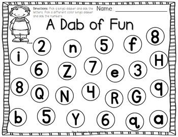 Use a bingo dabber to dab the letters one color. Use a different color to dab the numbers. Great for the classroom or homeschool!