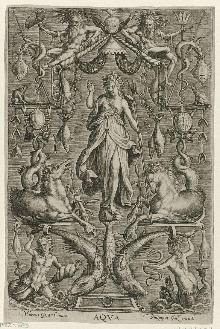 Philips Galle   Water, Philips Galle, 1547 - 1622   De personificatie van Water, omringd door ornamentele versieringen. Ze heeft een drietand in haar hand en wordt geflankeerd door twee zeepaarden. In de vier hoeken van de prent vier meermannen. De prent is deel van een reeks over de vier elementen.