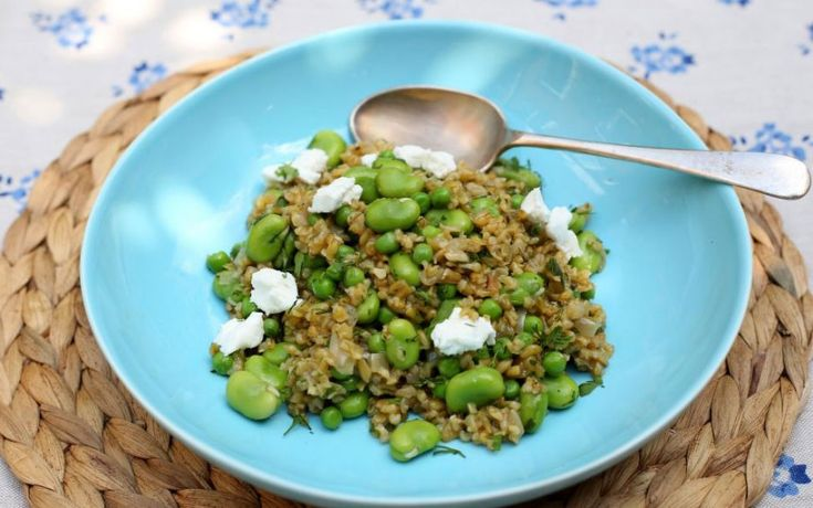This earthy risotto combines the freekeh grain with goats cheese and fresh   greens