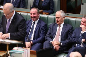Deputy PM Barnaby Joyce reacts to news about the inland railway as Treasurer Scott Morrison delivers the 2017 Budget.