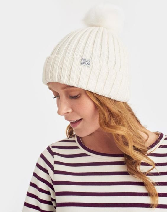 Pop-a-pom Cream Bobble Hat , Size One Size   Joules US