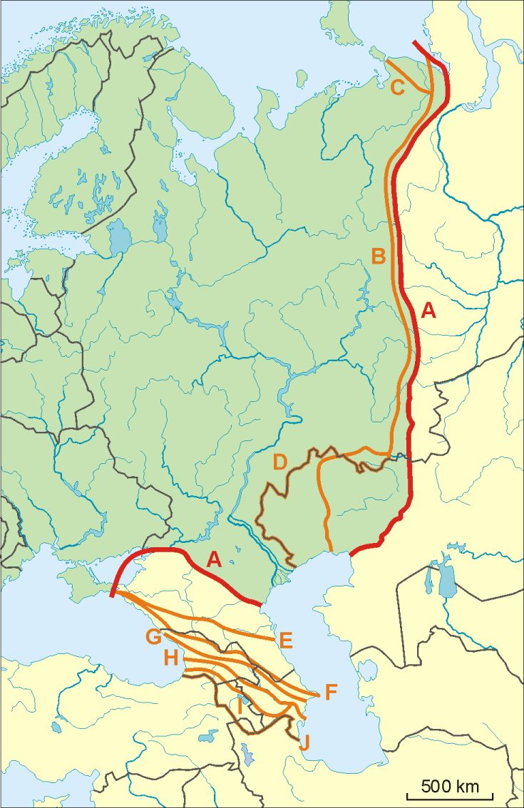 Possible definitions of the boundary between europe and asia