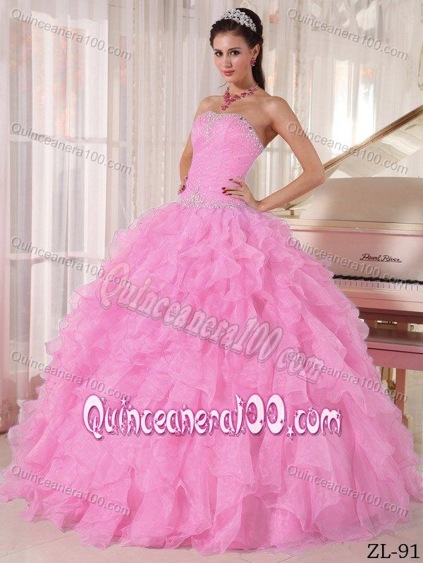 594879d1ff8 2012 Hot Strapless Beaded Ruffled Baby Pink Dress for Quince
