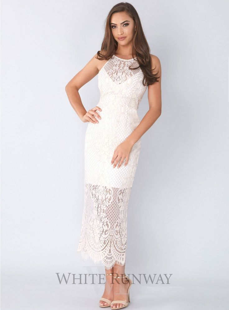 High Neck Midi Dress. A beautiful midi dress by Shona Joy. A high neck style made from a medium weight scalloped eyelash lace.