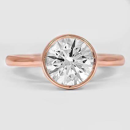 Princess Cut Luna Lünette Set Diamant-Verlobungsring – 14 Karat Roségold (Einstellung Preis)