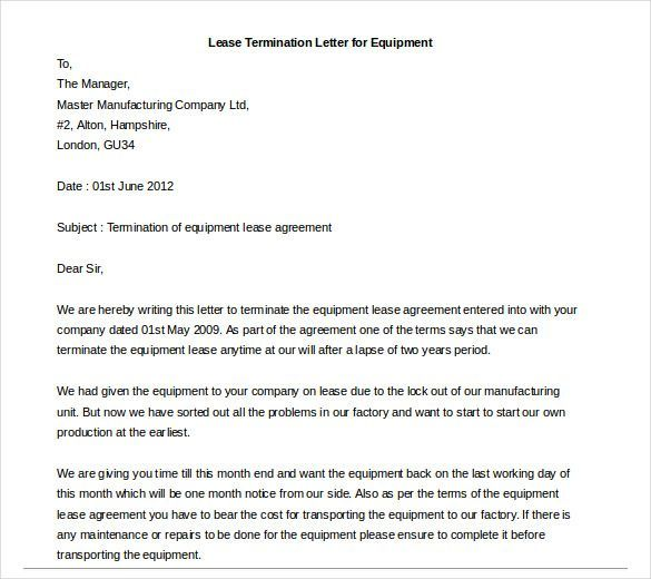 Early Lease Termination Letter -    wwwvalery-novoselskyorg - lease termination letter format