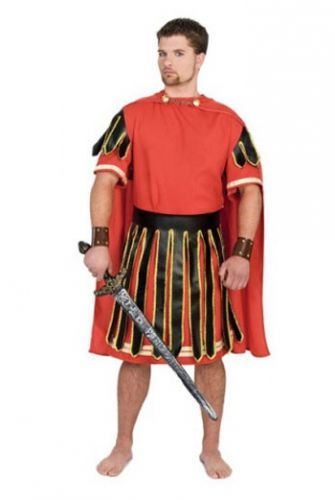 Gladiator kostuum rood voor heren. Romeinse gladiator of soldaat kostuum in rode kleur bestaande uit de tuniek, rok en cape. Carnavalskleding 2015 #carnaval