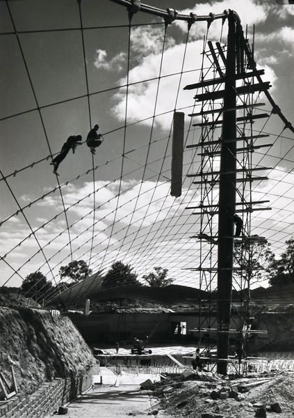 Sievers, Wolfgang, Workers on the Roof Cable, Sidney Myer Music Bowl During Construction, Melbourne 1956