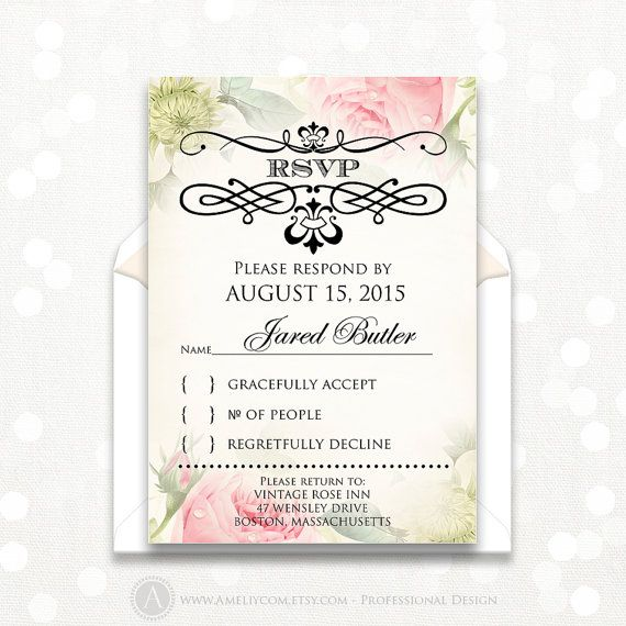 Printable RSVP Card Vintage Floral Reply Card by AmeliyCom on Etsy https://www.etsy.com/listing/237692552/printable-rsvp-card-vintage-floral-reply