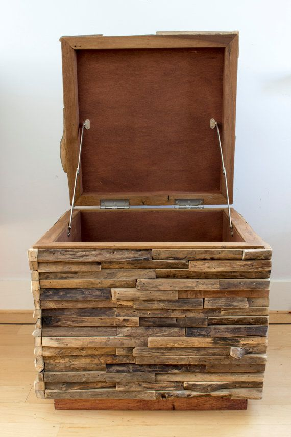 This rustic storage box is a beautiful contemporary piece of furniture. The storage box is crafted by hand and features a lid to open the box. It is