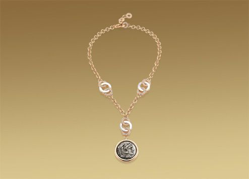 bulgari monete necklace in 18 kt pink gold with mother of pearl antique coin and