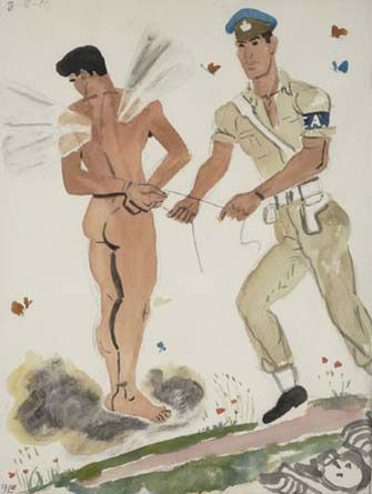 Military Policeman arresting the spirit, 1965 (Water-colour and pencil on paper)