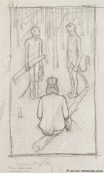 Artwork by Hugo Simberg, Man and two devils in the woods, Made of Drawing (1898)