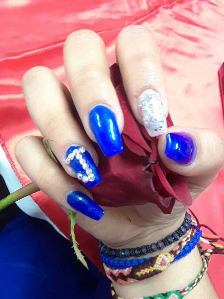 Blue Coffin Nails With J Initial Nails Simple Cutee Royalbluee Coffin Nails Blue Coffin Nails Trendy Nails