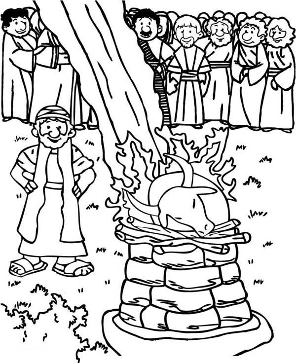Elijah And Prophets Of Baal Coloring Page Coloring Pages Bible Coloring Pages Bible Coloring