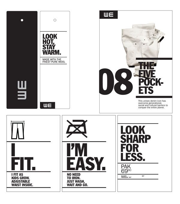 WE Fashion - Brand Identity by Denis Bégin, via Behance. Awesome idea! We love this #19design