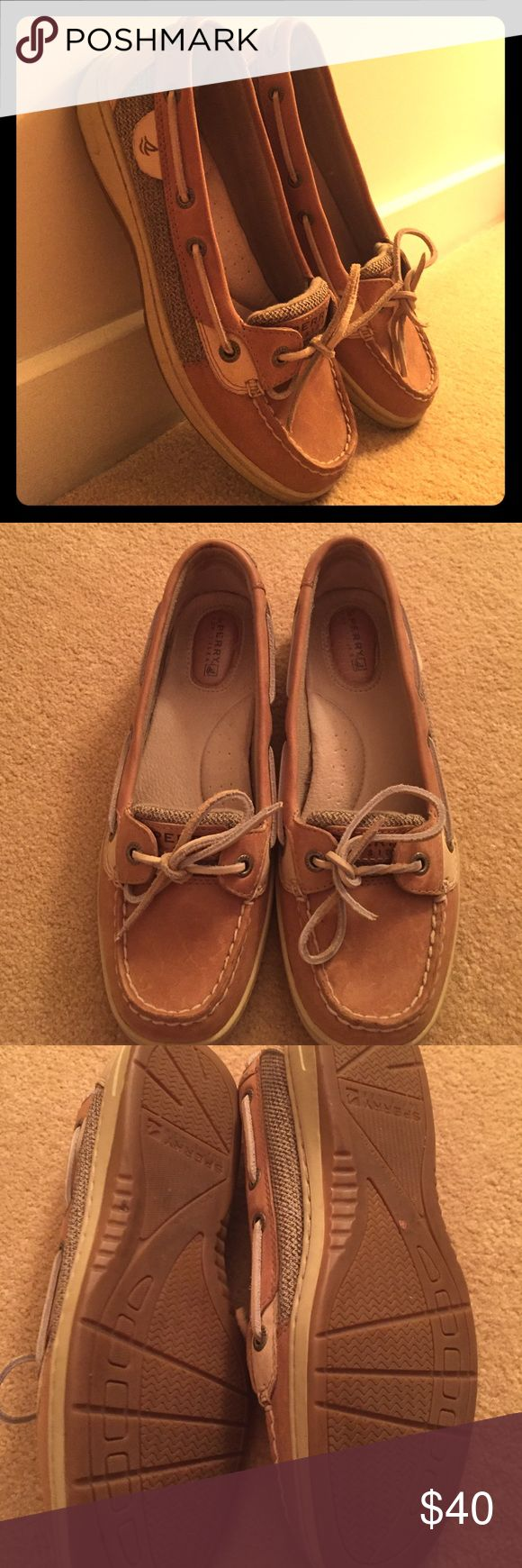 Sperry Angelfish Tan Sperry Top Sider shoes. Worn once - excellent condition. Tan color goes with anything! Comfortable and versatile. Leather upper. No-scuff sole. Medium width. Sperry Top-Sider Shoes Flats & Loafers