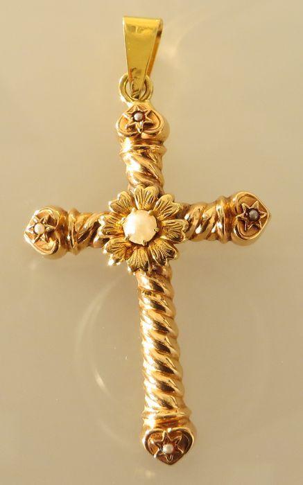 Online veilinghuis Catawiki: Zwaar 14 kt gouden kruis bezet met parels