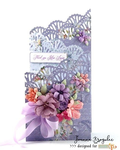 Thank you card for a teacher made with Secret Garden collection by Studio 75