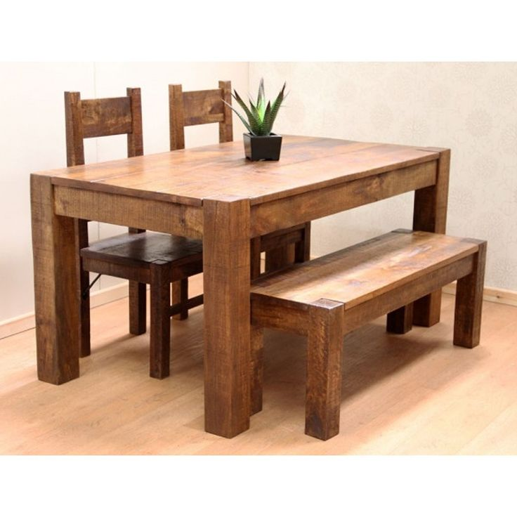 Set 2 sedie con una panchina Legno di sheesham Set da pranzo DSS-116137 X 91 X 76 CM | Arts of India – Italy