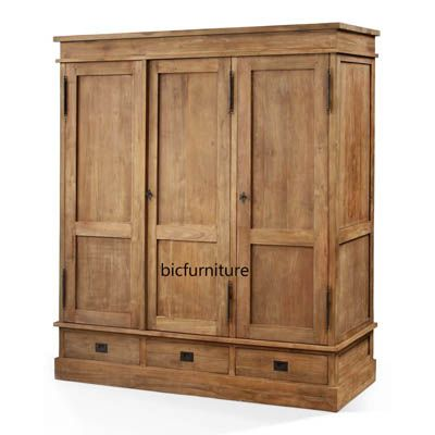 Popular Wooden three door wardrobe with drawers
