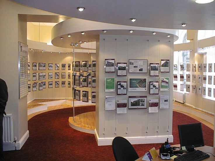 Bramleys estate agents Huddersfield, design and installation of head office and showroom incorporating floating bulkheads to fix displays into