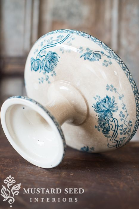 French Ironstone Compote Miss Mustard Seed Blue
