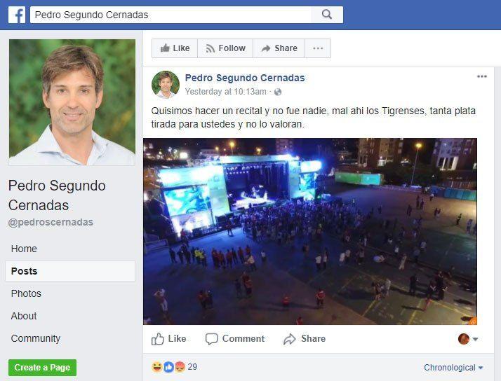 Una pagina de Facebook atribuida a Pedro Segundo Cernadas, sobrino de Patricia Bullrich y el candidato que Cambiemos busca llevar a la Intendencia de Tigre en las próximas elecciones, arremetió contra los Tigrenses y los - 16.01.2018