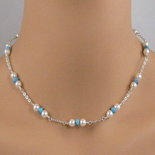 Turquoise White Pearl Sterling Silver Chain by JewelryByTali, $70.00